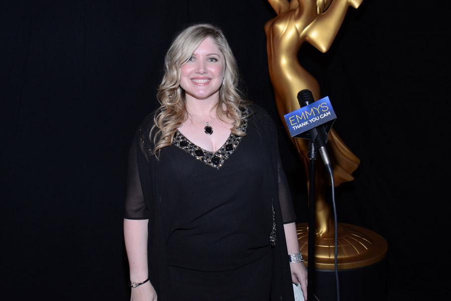 Orange Is the New Black casting director Jennifer Euston celebrates her win at the 2014 Primetime Creative Arts Emmys.