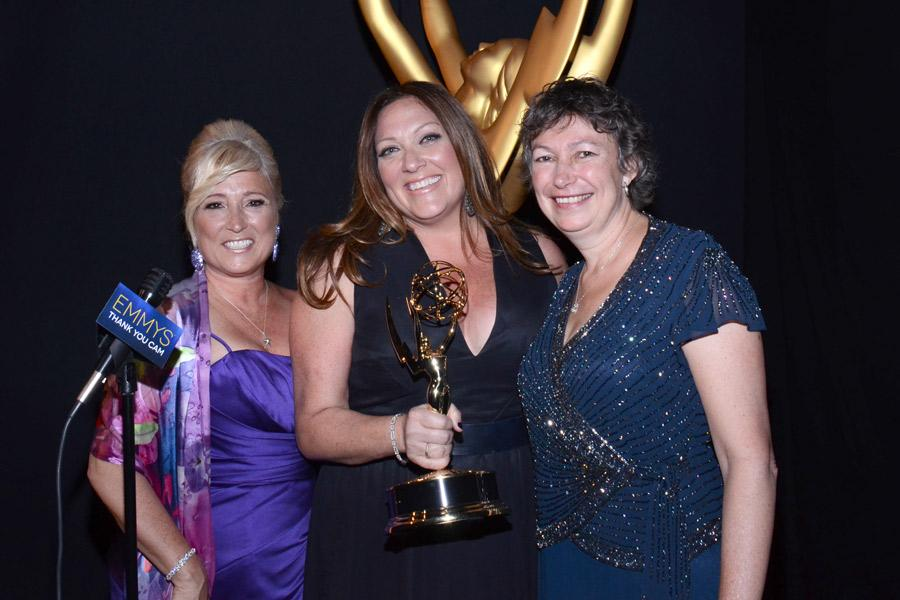 Fargo casting directors Jackie Lind (l), Rachel Tenner (c) Stephanie Gorin (r) celebrate their win at the 2014 Primetime Creative Arts Emmys.