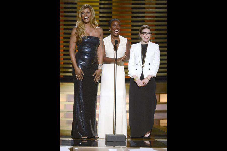 Presenters Laverne Cox (l) Uzo Aduba (c) and Natasha Lyonne (r) at the 2014 Primetime Creative Arts Emmys.