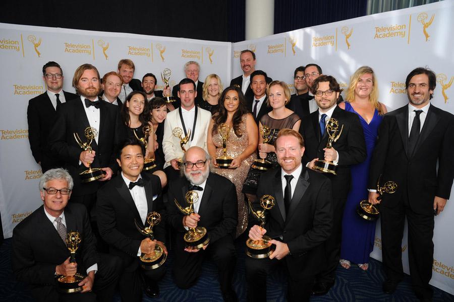 Bob's Burgers cast and crew celebrate at the 2014 Primetime Creative Arts Emmys.