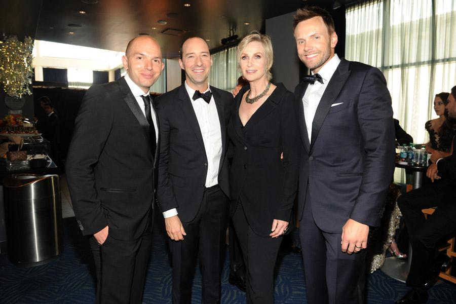 Paul Scheer (l), Tony Hale, Jane Lynch and Joel McHale (r) at the 2014 Primetime Creative Arts Emmys.