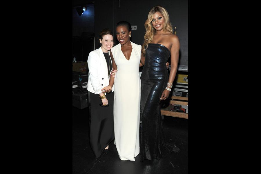 Natasha Lyonne (l), Uzo Aduba (c) and Laverne Cox (r) of Orange is the New Black at the 2014 Primetime Creative Arts Emmys.