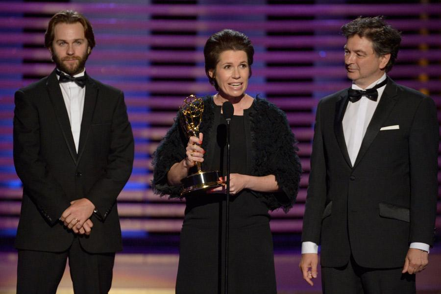 Rob Cameron, Deborah Riley and Paul Ghirardani accept the award for outstanding art direction for a contemporary or fantasy series for Game of Thrones.