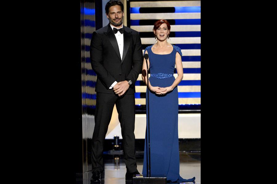 Presenters Joe Manganiello and Carrie Preston at the 2014 Primetime Creative Arts Emmys.