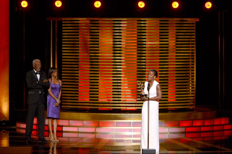 Uzo Aduba accepts the award for outstanding guest actress in a comedy series for her work on Orange Is the New Black.