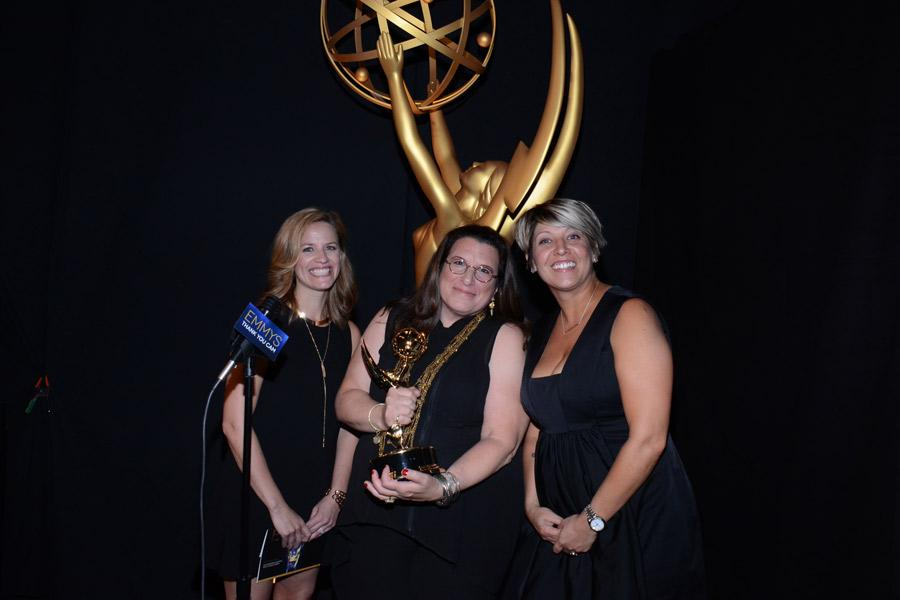 True Detective casting directors Meagan Lewis (l), Alexa L. Fogel (c) and Christine Kromer (r) celebrate their win at the 2014 Primetime Creative Arts Emmys.