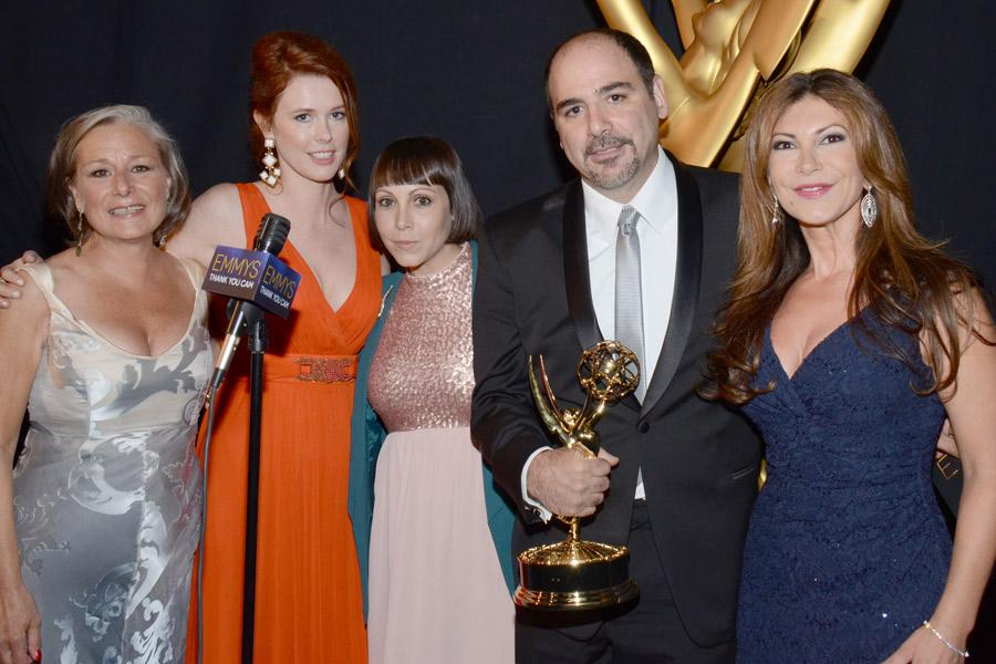The Saturday Night Live makeup team celebrates their win at the 2014 Primetime Creative Arts Emmys.