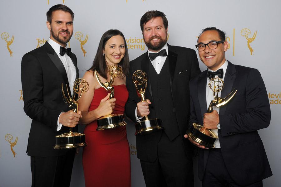 (From left) Aaron Koblin, Jenny Ramaswamy, Doug Fritz, and Jono Brandel celebrate at the 2014 Primetime Creative Arts Emmys.