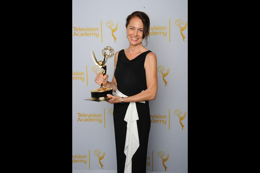 The American Experience producer Susan Bellows celebrates her win at the 2014 Primetime Creative Arts Emmys.