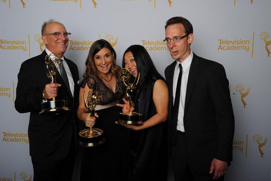 (From left) Adam Dubov, Sabrina Caluori, Lynn Kim, and Jacob Taylor celebrate at the 2014 Primetime Creative Arts Emmys.