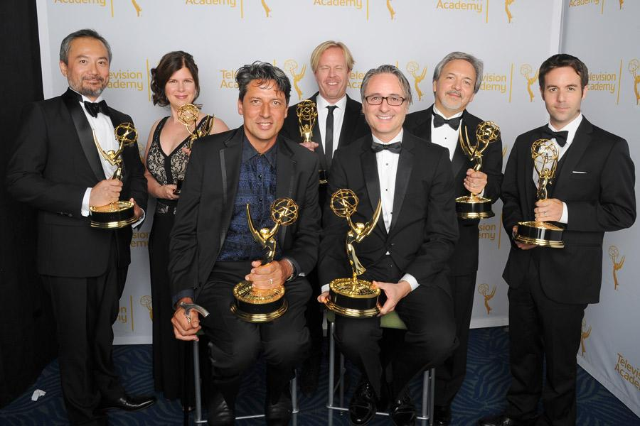The Black Sails special and visual effects team celebrates their win at the 2014 Primetime Creative Arts Emmys.