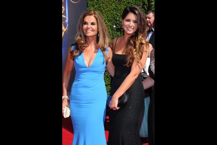 Maria Shriver and Katherine Schwarzenegger arrive for the 2014 Primetime Creative Arts Emmys.