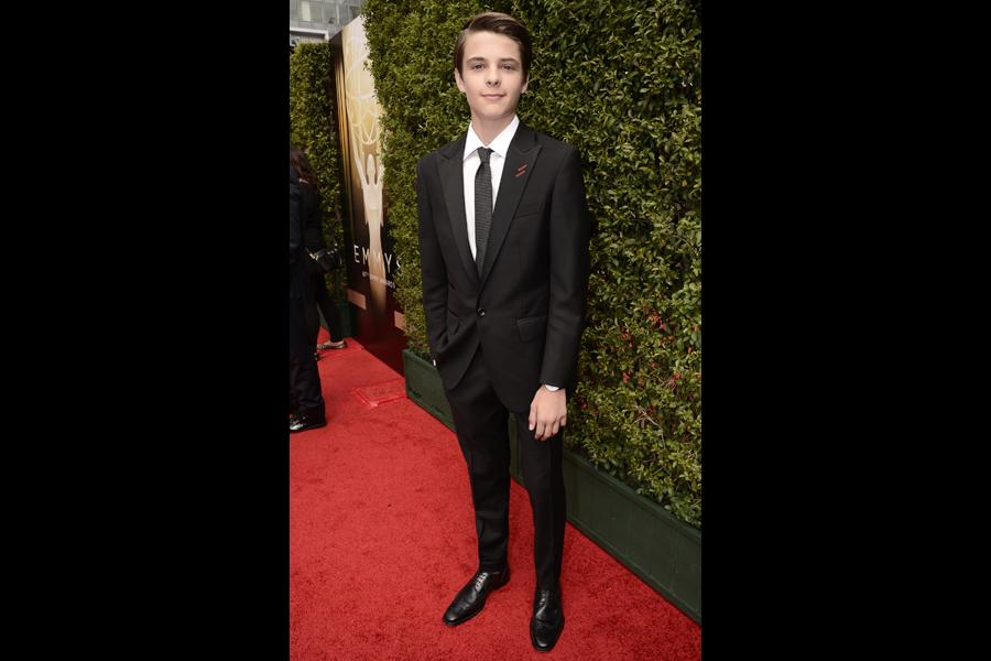 Corey Fogelmanis on the red carpet at the 2015 Creative Arts Emmys.