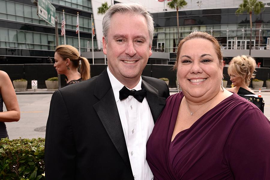 Kevin Kliesch and Amy Kliesch arrive at the Television Academy's Creative Arts Emmy Awards 2015.