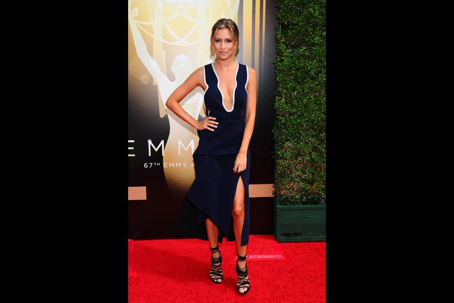 Renee Bargh on the Red Carpet at the 2015 Creative Arts Emmys.