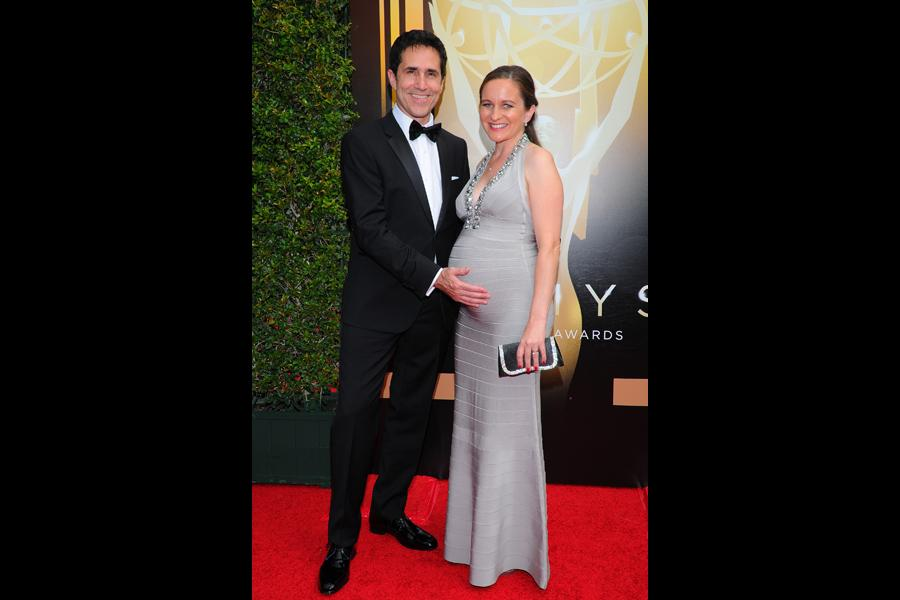Mac Quayle and Cat Deakins arrive on the red carpet at the Creative Arts Emmy Awards 2015.
