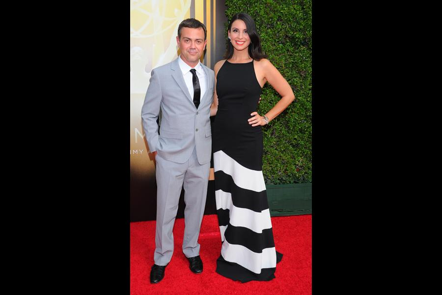 Joe Lo Truglio and Beth Dover on the red carpet at the 2015 Creative Arts Emmys.