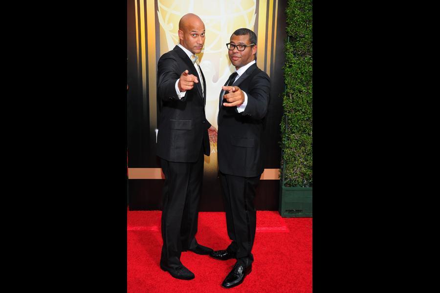 Keegan-Michael Key and Jordan Peele arrive on the red carpet at the Creative Arts Emmy Awards 2015.