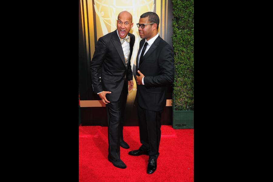 Keegan-Michael Key and Jordan Peele on the red carpet at the 2015 Creative Arts Emmys.