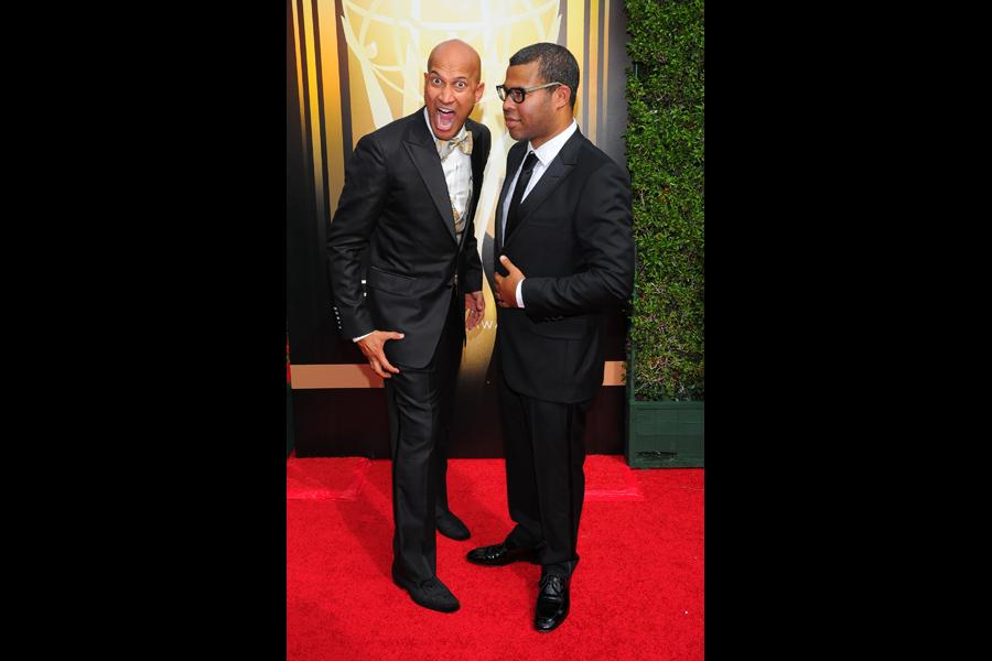 Keegan-Michael Key and Jordan Peele on the red carpet at the 2015 Creative Arts Emmys.