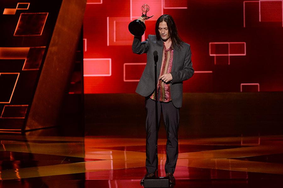 Jason Baker accepts his award at the 2015 Creative Arts Emmys.
