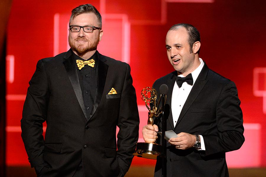 Josh Earl and Alexander Rubinow accepts their award at the Creative Arts Emmys 2015.