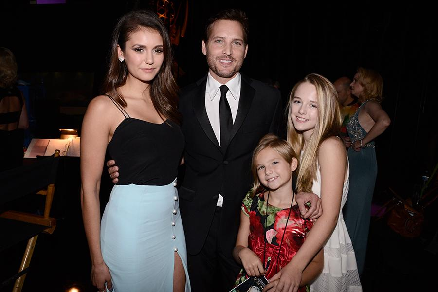 Nina Dobrev, Peter Facinelli, Fiona Eve Facinelli and Lola Ray Facinelli at 2015 Creative Arts Emmys.