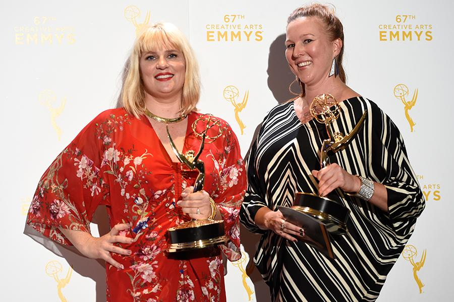 Marie Schley and Nancy Jarzynko backstage at the 2015 Creative Arts Emmys.