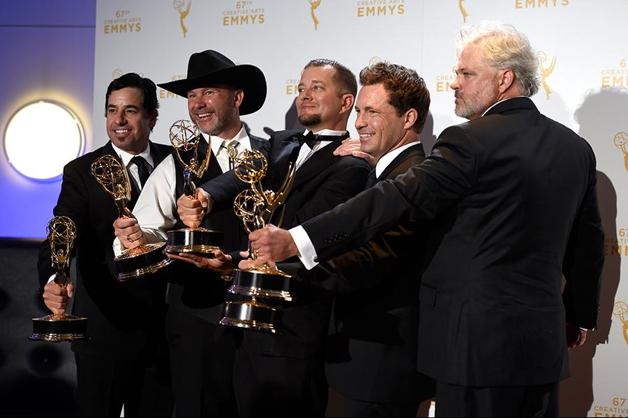David Reichart, Todd Stanley, Steven Wright, Breck Warwick and Matt Fahey backstage at the 2015 Creative Arts Emmy Awards.