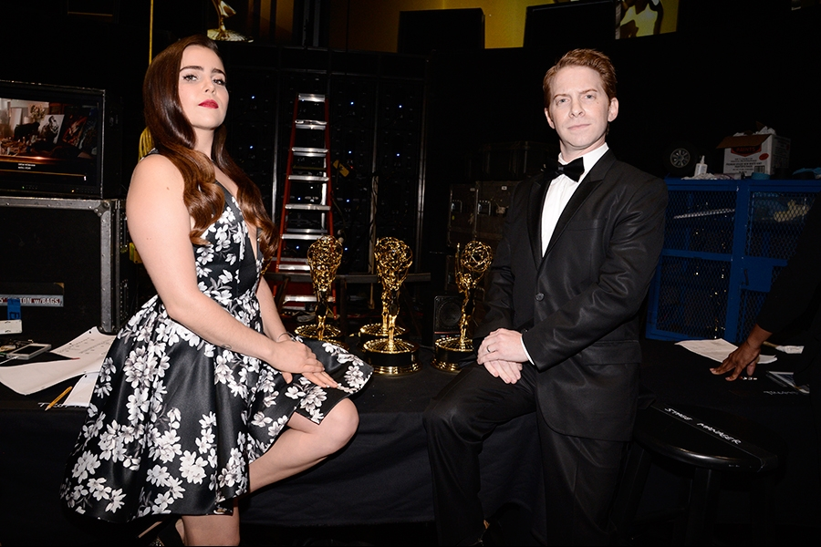 Mae Whitman and Seth Green backstage at the 2015 Creative Arts Emmys.