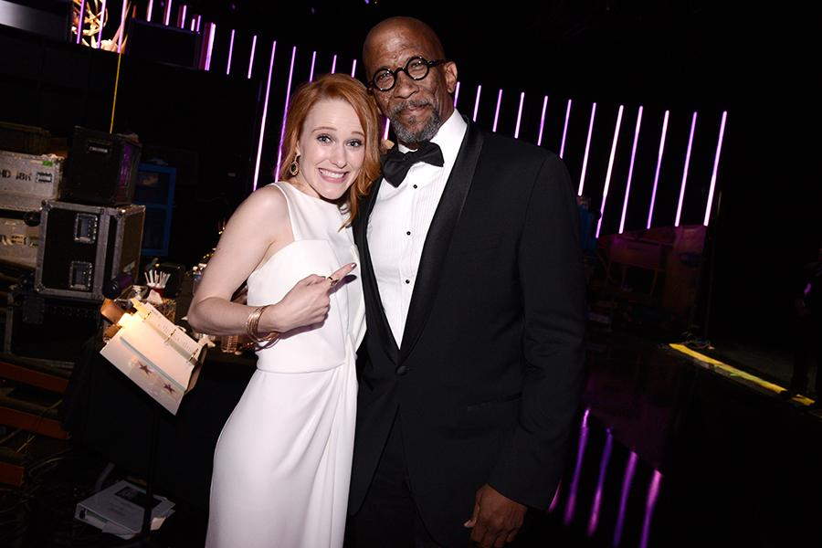 Rachel Brosnahan and Reg E. Cathey backstage at the Creative Arts Emmy Awards 2015.