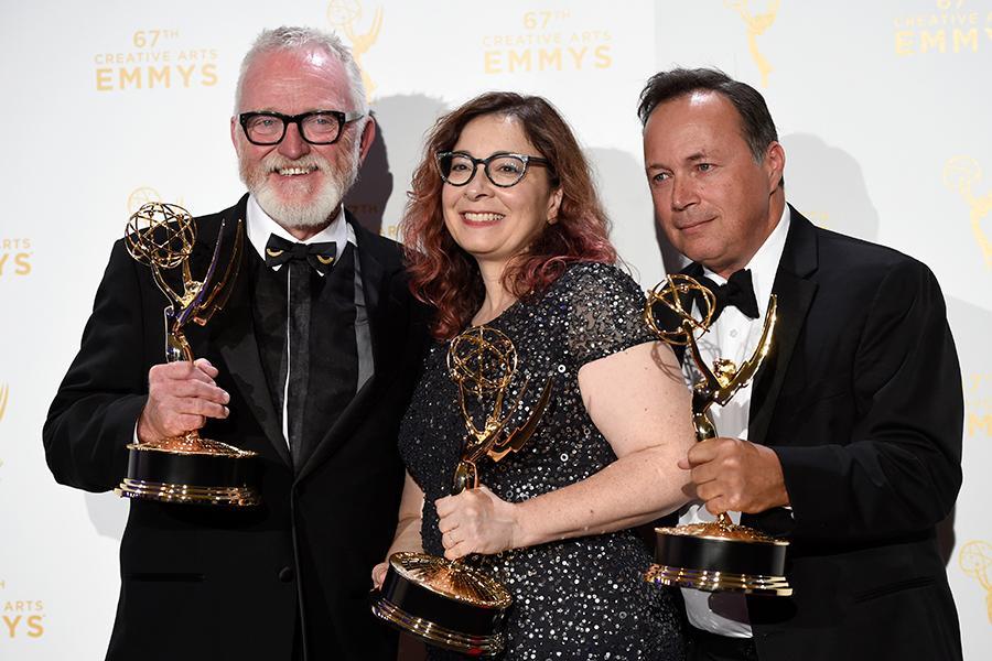 Bill Groom, Carol Silverman and Adam Scher backstage at the 2015 Creative Arts Emmys.