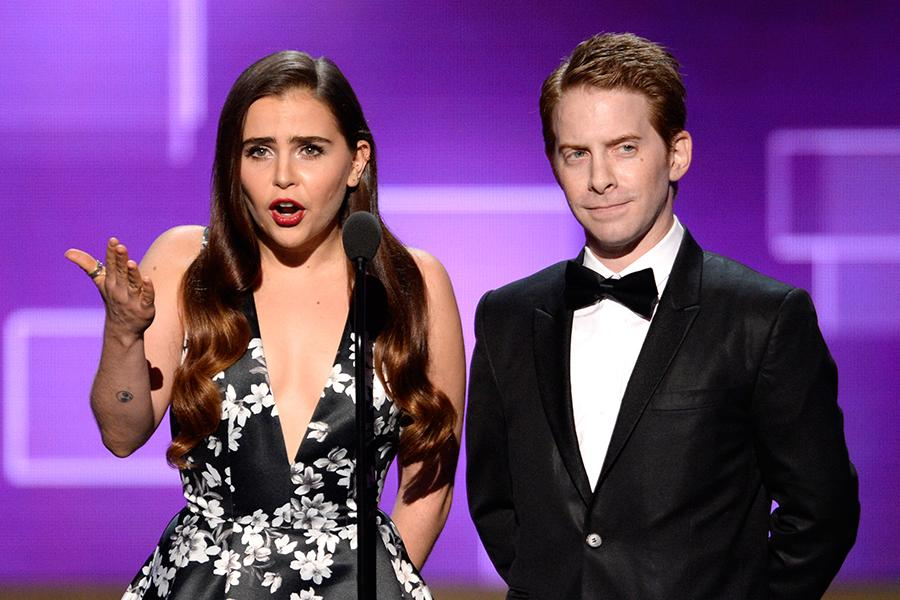 Mae Whitman and Seth Green present an award at the 2015 Creative Arts Emmys.
