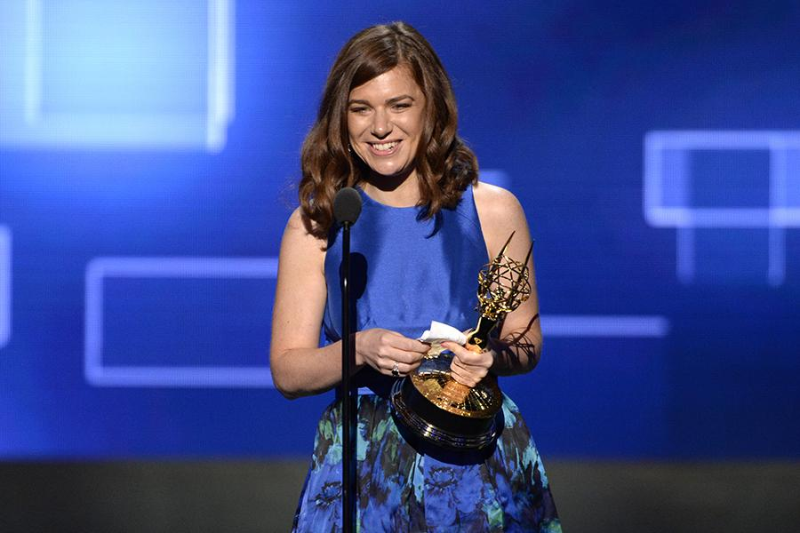 Katie Weiland accepts an award at the 2015 Creative Arts Emmys.
