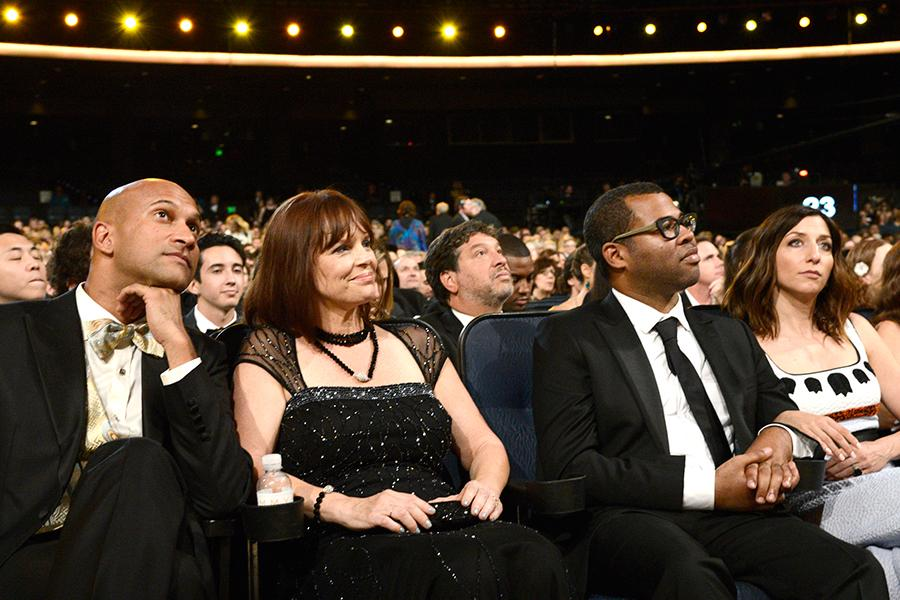 Keegan-Michael Key, Cynthia Blaise, Jordan Peele and Chelsea Peretti at the 2015 Creative Arts Emmys.