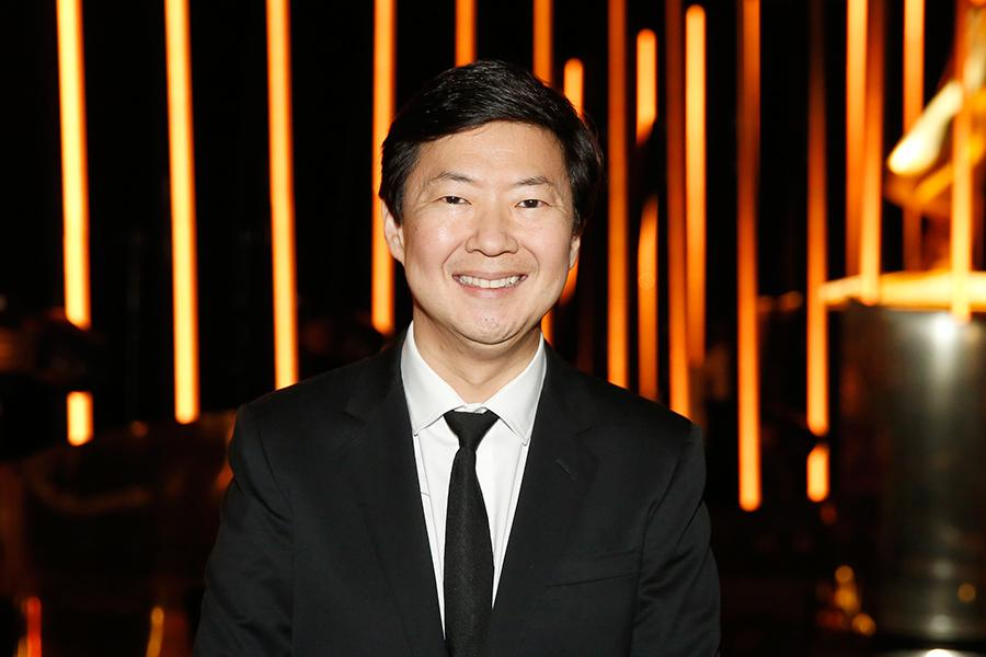 Ken Jeong backstage at the 2015 Creative Arts Emmy Awards.