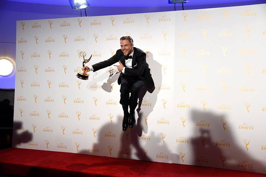 Derek Hough backstage at the 2015 Creative Arts Emmy Awards.