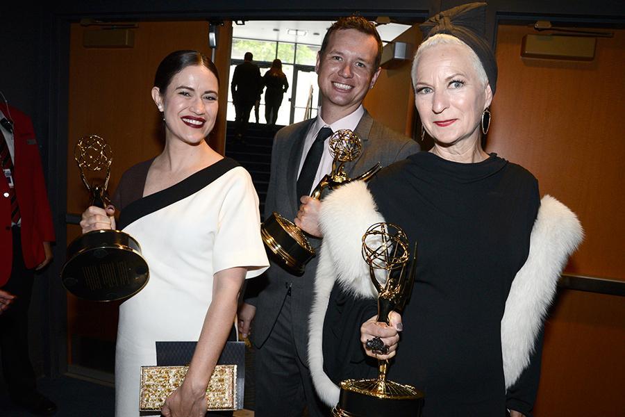Elizabeth Macey, Ken van Duyne and Lou Eyrich backstage at the 2015 Creative Arts Emmys.
