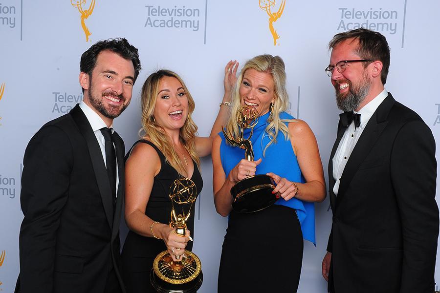 Rhys Thomas, from left, Erin Doyle, Lindsay Shookus, and Erik Keyword backstage at the 2015 Creative Arts Emmy Awards.