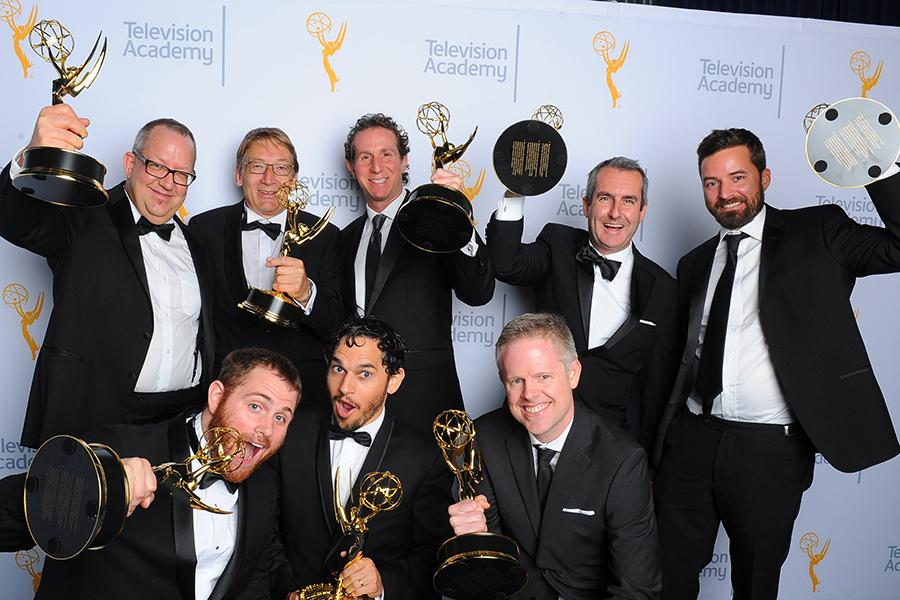 Joe Bauer, Stuart Brisdon, Steve Kullback, Derek Spears, Matthew Rouleau, Adam Chazen, Jabbar Raisani and James Kinnings backstage at the 2015 Creative Arts Emmys.