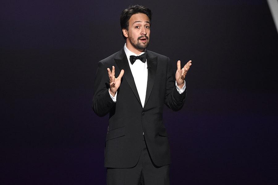 Lin-Manuel Miranda speaks onstage at the 71st Emmy Awards.