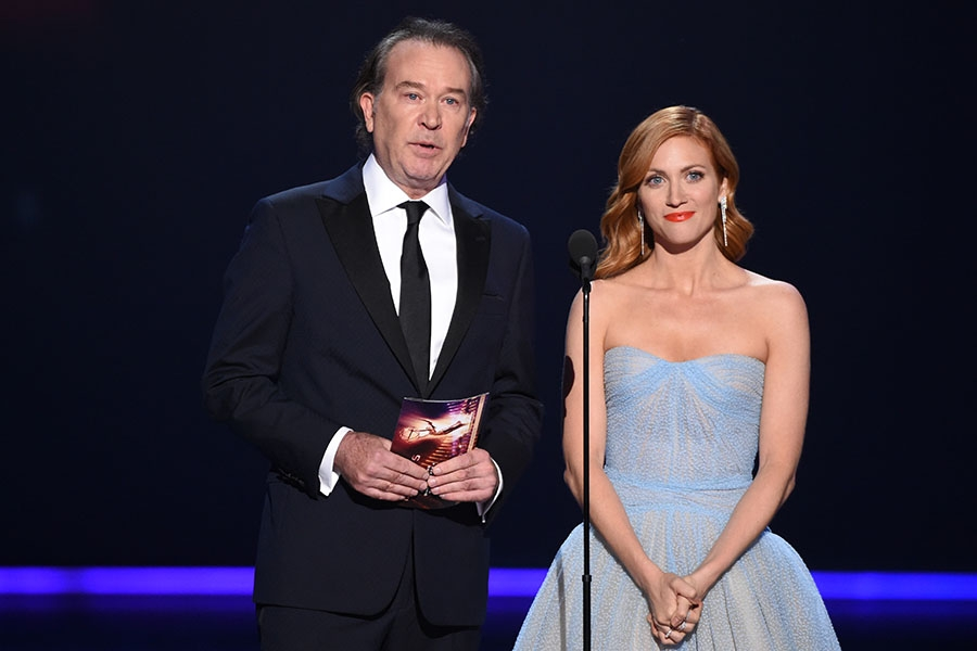 Timothy Hutton and Brittany Snow present an award at the 71st Emmy Awards.