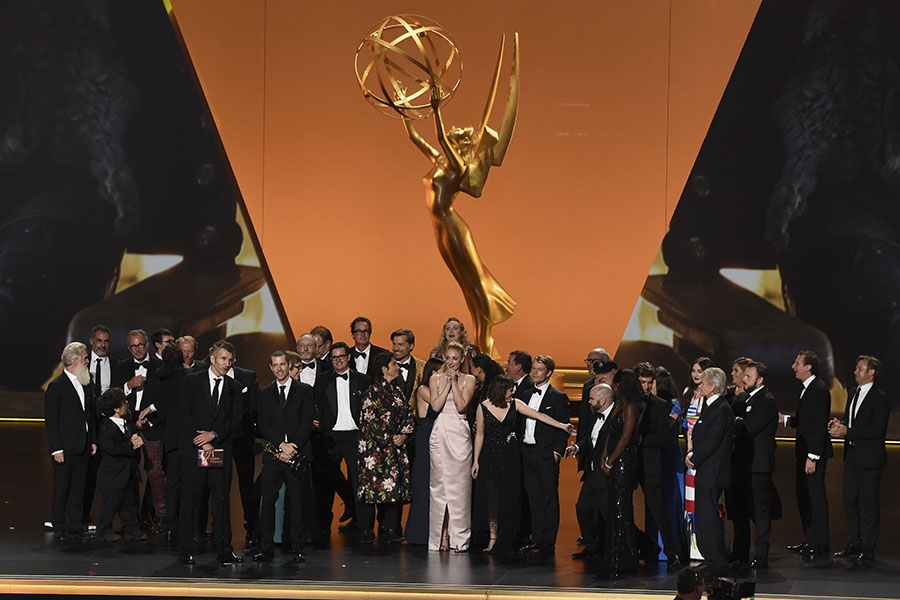 The cast and crew of Game Of Thrones accepts an award at the 71st Emmy Awards.