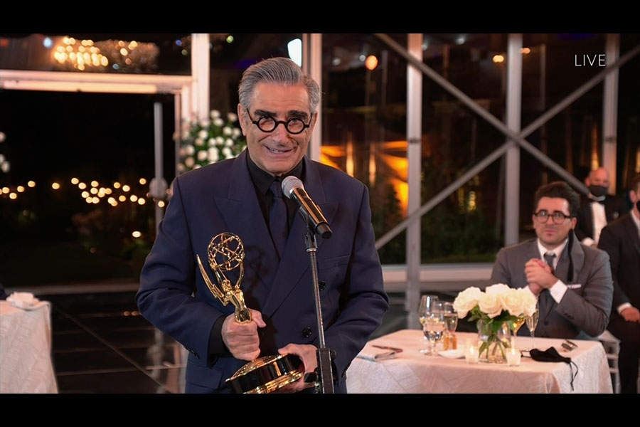 Eugene Levy accepts the award for Outstanding Lead Actor in a Comedy Series for Schitt's Creek at the 72nd Emmy Awards.