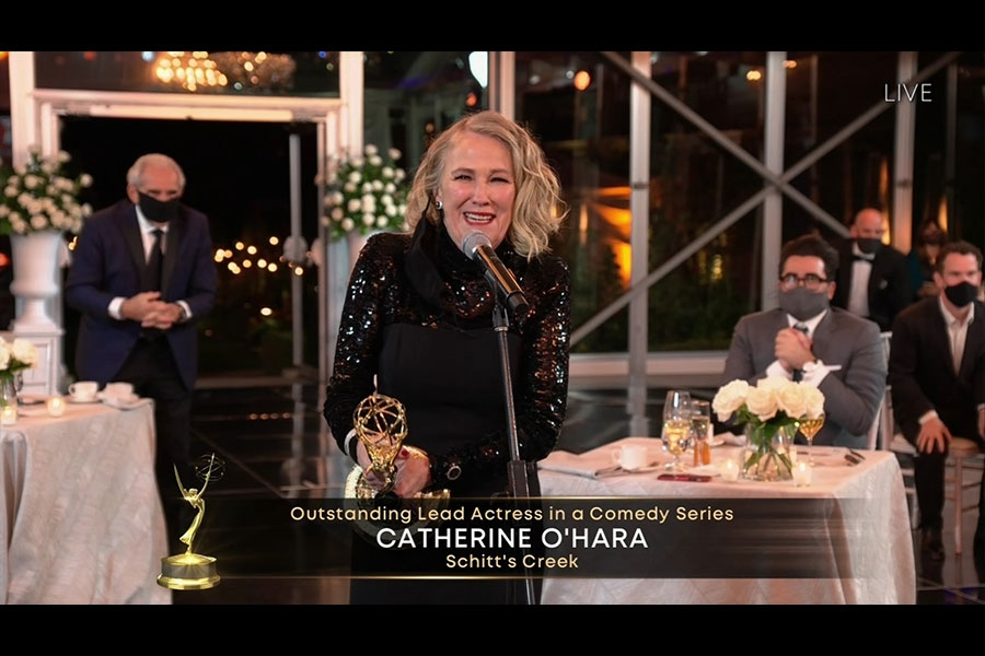 Catherine O'Hara accepts the award for Outstanding Lead Actress in a Comedy Series for Schitt's Creek at the 72nd Emmy Awards.