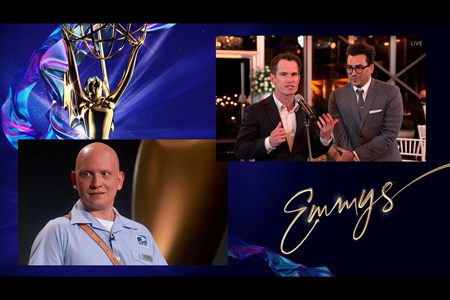 Anthony Carrigan presents the award for Outstanding Directing for a Comedy Series to Andrew Cividino and Daniel Levy for Schitt's Creek during the 72nd Emmy Awards.