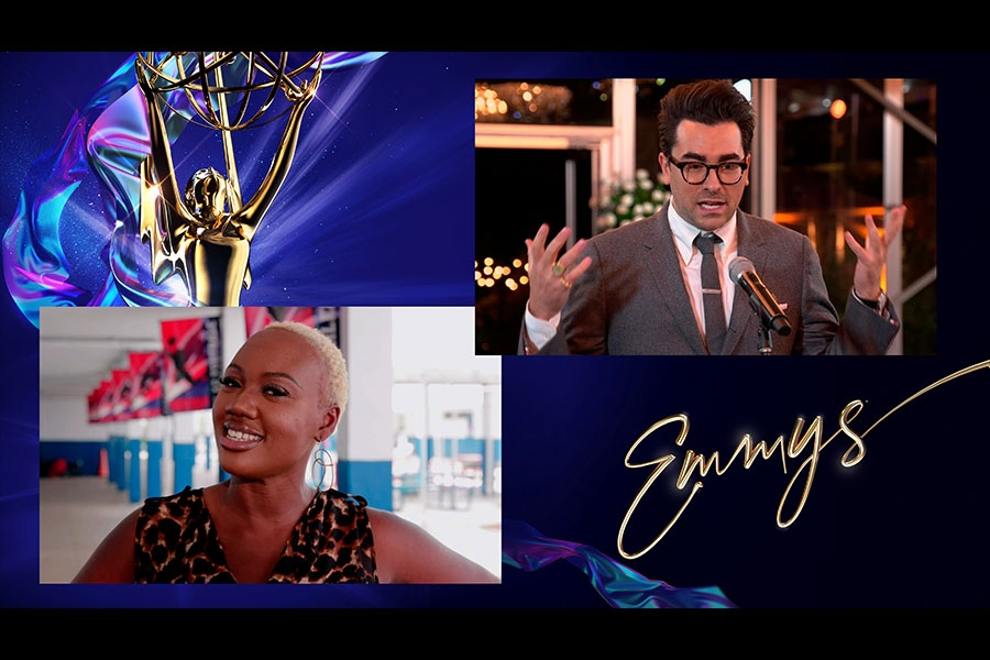 Cindy Marcelin, essential worker and U.S. history teacher, presents the Emmy for Outstanding Supporting Actor in a Comedy Series to Daniel Levy for Schitt's Creek at the 72nd Emmy Awards.