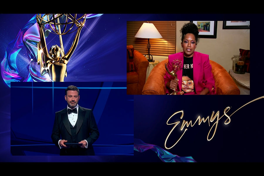 Jimmy Kimmel presents the award for Outstanding Lead Actress in a Limited Series or Movie to Regina King for Watchmen at the 72nd Emmy Awards.
