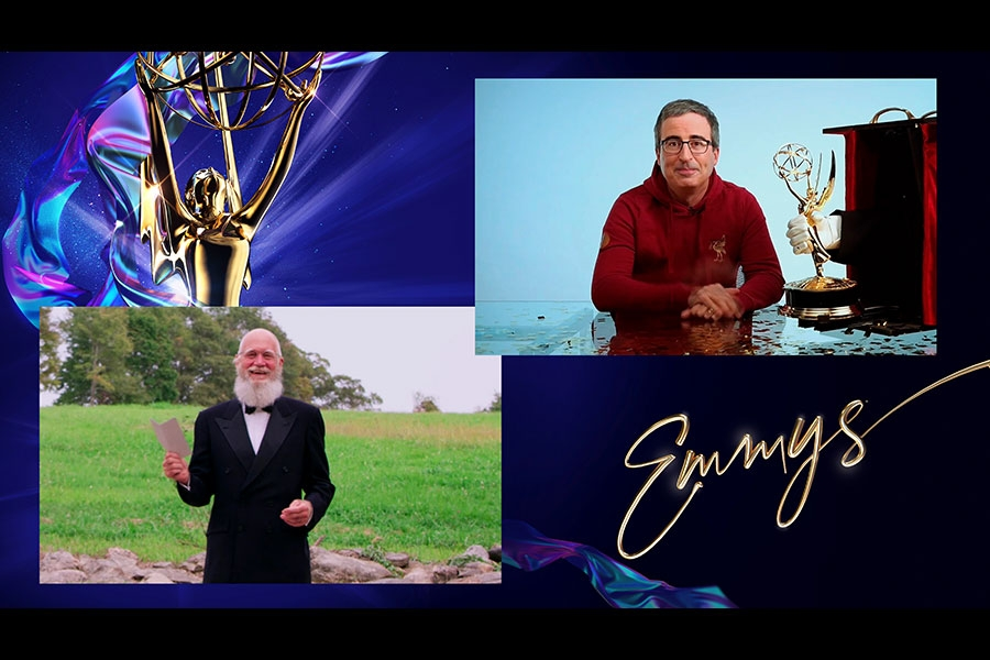 David Letterman presents the Emmy for Outstanding Variety Talk Series to John Oliver for Last Week Tonight with John Oliver at the 72nd Emmy Awards.