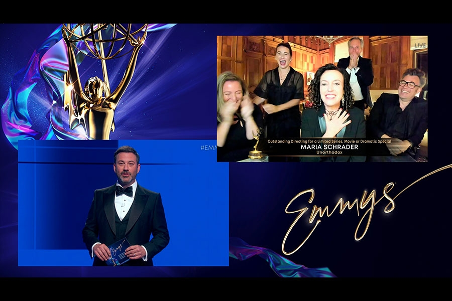 Jimmy Kimmel presents the award for Outstanding Directing for a Limited Series, Movie or Dramatic Special to Maria Schrader and team from Unorthodox during the 72nd Emmy Awards.